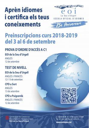PREINSCRIPCIÓ curs 2018-2019